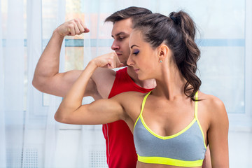 Active athletic sportive woman girl and man showing their