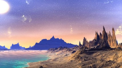 Fantasy alien planet. Rocks and sky