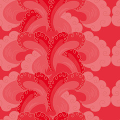 seamless pattern. decorative wave. shades of red.