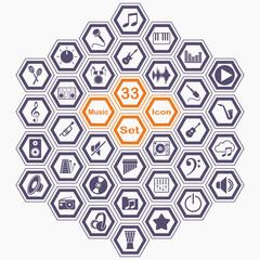 Polygon music icon set