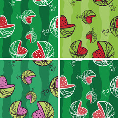 Seamless Background with Bright Watermelon Pattern (4 in set)