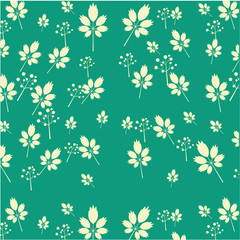 Vintage seamless pattern with white leaves and flowers, green