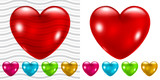 Transparent and opaque glossy hearts in various colors poster