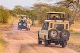 Jeeps on african wildlife safari.