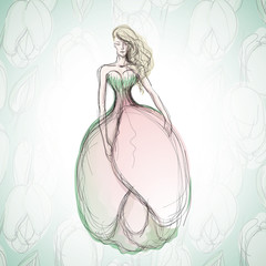 Wedding dress like Flower Tulip / Sketch of romantic bride