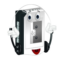 Funny cartoon walkman illustration hands and eyes