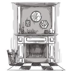 Hand drawn fireplace. A cozy place at home.