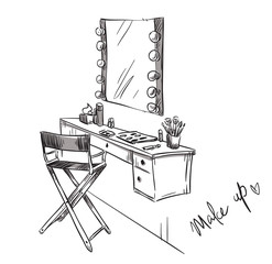 Vanity table and folding chair illustration.