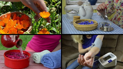 Herbalist woman health care. Video clips collage.