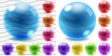 Transparent and opaque colored glass spheres poster