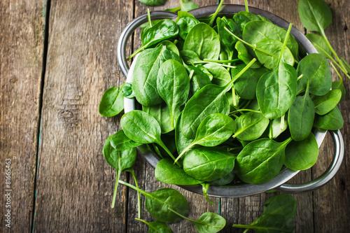 Papiers peints Herbe, epice Fresh spinach in metal colander