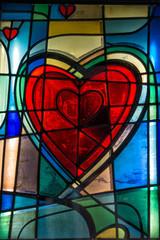 heart shape glass window