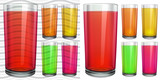 Transparent and opaque glasses with transparent colored juice poster