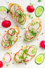 bruschetta with feta cheese, radish and cucumber