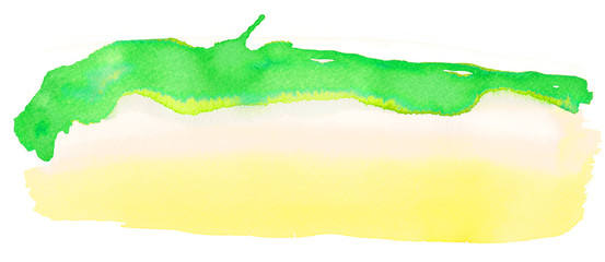 Texture watercolor smear in yellow-green tones isolated