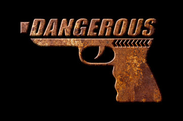 Dangerous gun concept isolated on black background