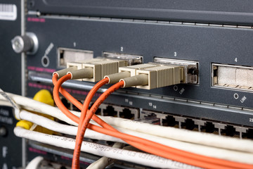 Fiber optic port type GBIC on network core switch