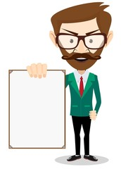 Businessman with blank poster, vector illustration
