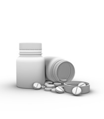 two bottles of pills on a white background