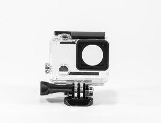 Action camera case front and mount