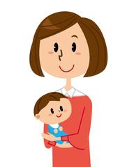 母親と赤ちゃん 笑顔