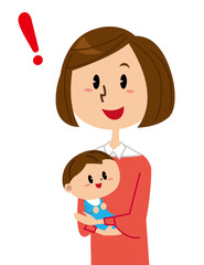 母親と赤ちゃん 閃く