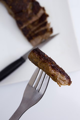 Piece of medium rare steak