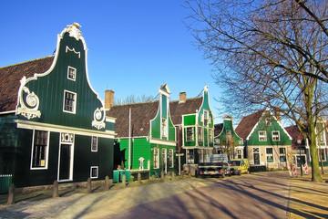 Traditional Dutch buildings in Zaanse Schans, Netherlands.