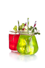 Drinks in Mason Jar on a white background