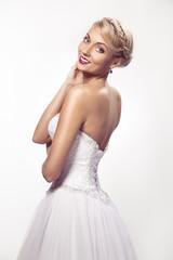 portrait of beautiful woman in wedding dress