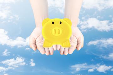 Golden Piggy Bank in hand