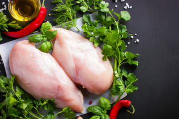 Fresh raw chicken fillet,  spices and herbs