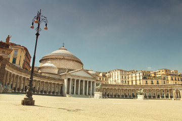 A beautiful view of  Piazza del Plebiscito in Naples