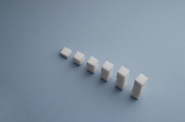 Ascending stacks of sugar cubes