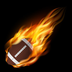 Realistic american football in the fire.