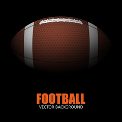 Dark background of realistic american football ball isolated.