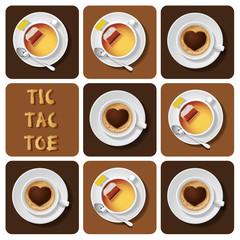 Tic-Tac-Toe of cappuccino and tea