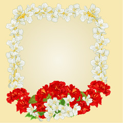 Frame with red hibiscus and jasmine vector