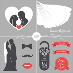 Vintage wedding set of design elements.