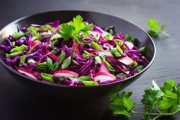 red cabbage, radish and spring onion salad