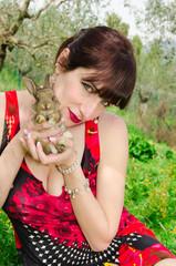 Pet therapy con un coniglio
