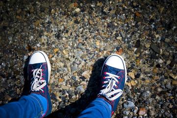 feet in sneakers