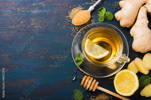 Fotobehang Thee Cup of Ginger tea with lemon and honey