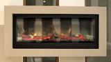 Closeup of electric artificial fireplace, modern interior