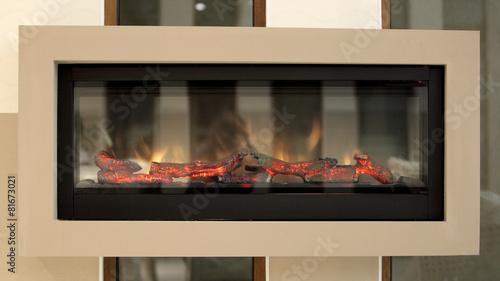 Closeup of electric artificial fireplace, modern interior - 81673021