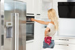 commercial shot blond girl cooking