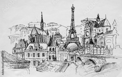 Paris, pencil drawing - 81673873