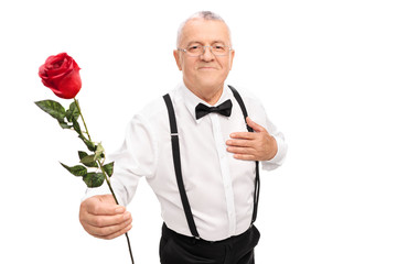 Romantic senior gentleman holding a red rose