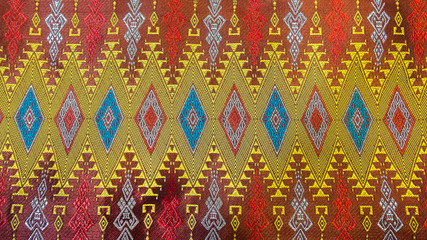 Colorful Traditional Thai Silk Textile Handcraft Texture
