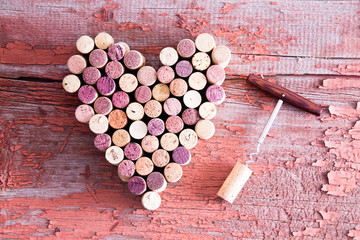 Corks in Heart Shape and Bottle Opener on Table